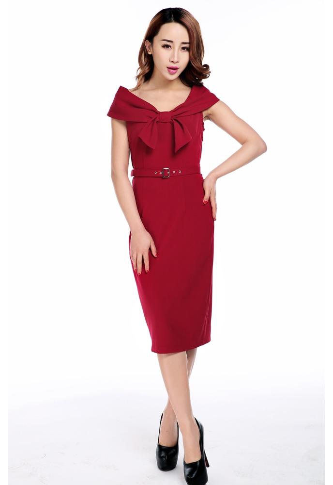 Plus Size Bow Collar Pencil Dress