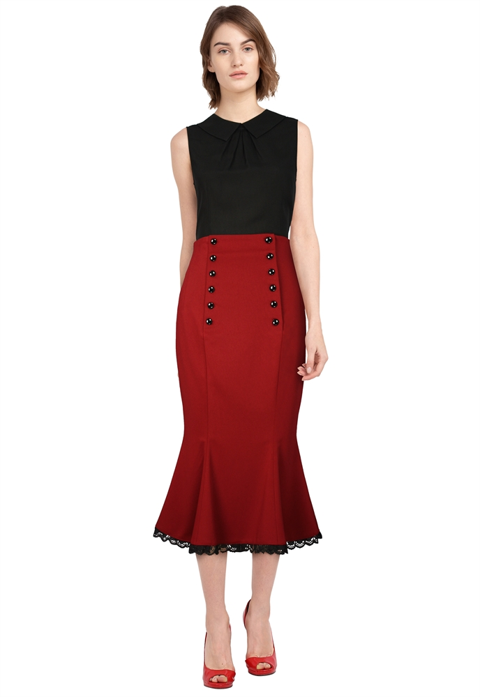 Plus Size Double Button Skirt