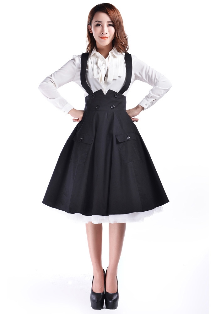Plus Size 1950s Circle Suspender Skirt