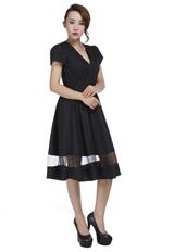 Black Vintage Sheer Inlay Dress
