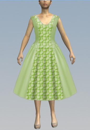 Lowered Neckline/Green Daisy Print