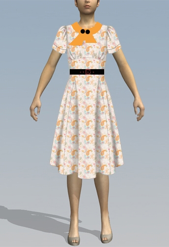 Retro Peach Paisley Dress