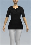 Top with banded cuffs on sleeves