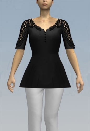 Button bust top with lace sleeve