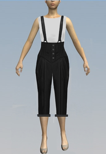 3/4 pants with suspenders