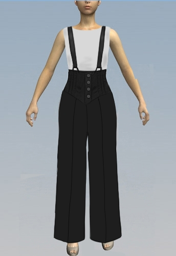 Straight leg pants with suspenders