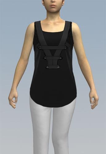 shirt with rounded hem and sleeveless