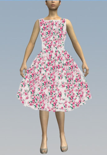White Lace Pink blossoms dress