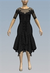 Fishnet neckline lacy handkerchief dress
