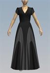 V-neck pleated contrast maxi dress