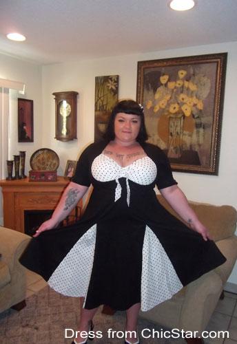 Plus-size Retro Polka-Dot Swing Dress
