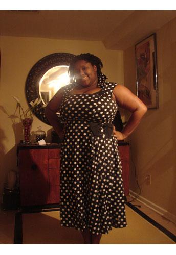 Plus-size Polka-Dot Belted Pleat Dress