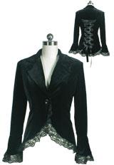 Gothic Lace Trim Corset Velvet Jacket