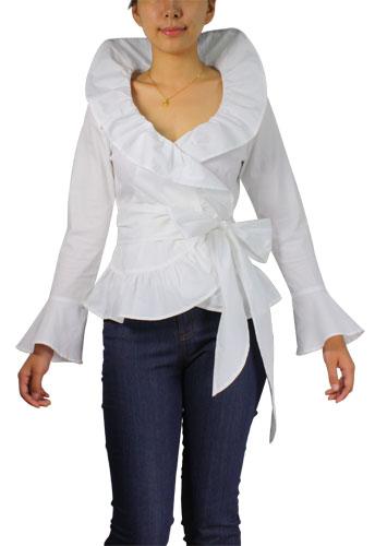Flounce Ruffle Wrap Shirt
