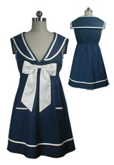 Bow Tie Sailor Mini Dress Tunic Top