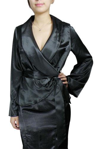 Shawl-Collar Wrap Blouse Shirt