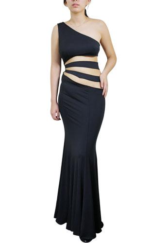 Asymmetric Cut-Out Jersey Knit Dress