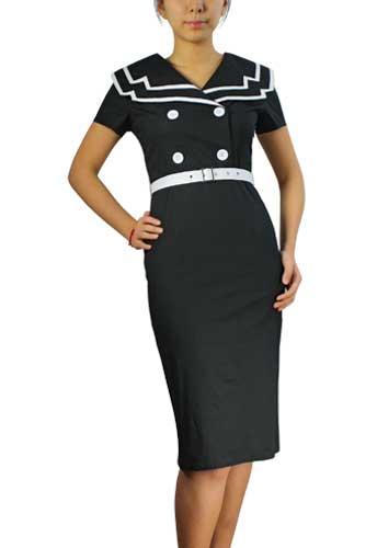 Vintage Sailor Pencil Cotton Dress