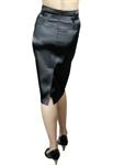 High-Waist Belted Satin Pencil Skirt