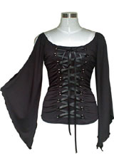 Plus-Size Lace-Up Gothic Corset Jersey Top