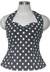 Plus-Size Rockabilly Polka-Dot Halter Top