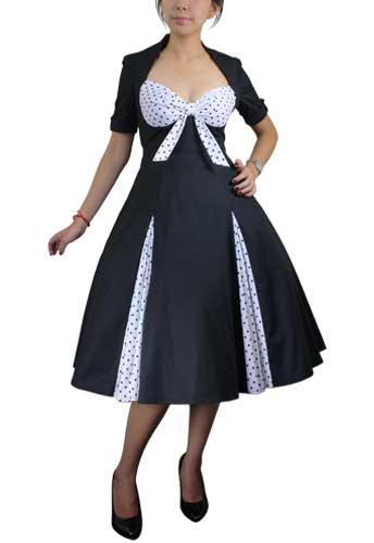 Black/Polka-dot Retro Polka-Dot Swing Dress