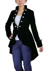 Plus-size Flocking Velvet Asymmetry Jacket
