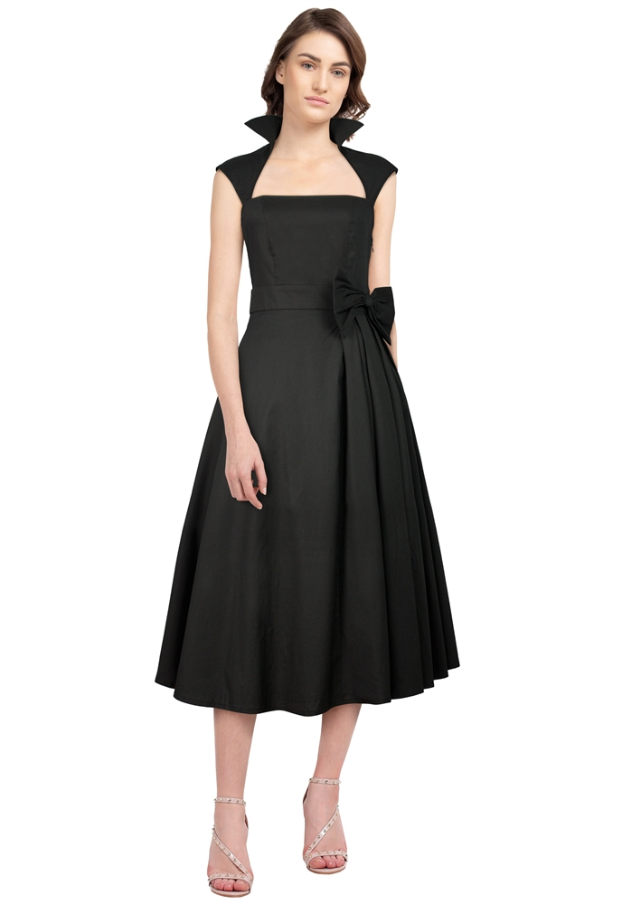 Plus-size Retro Bow Pleat Dress