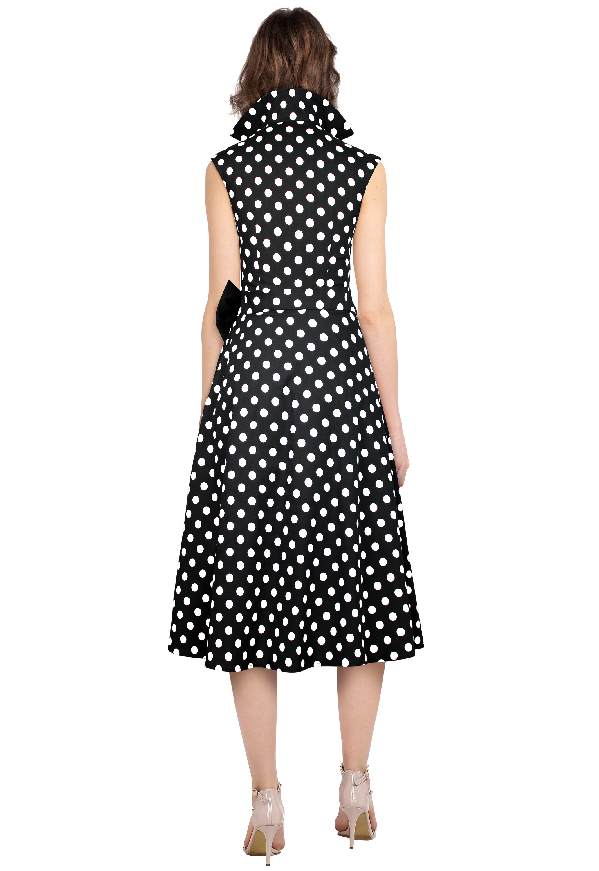 Polka-Dot Belted Pleat Dress