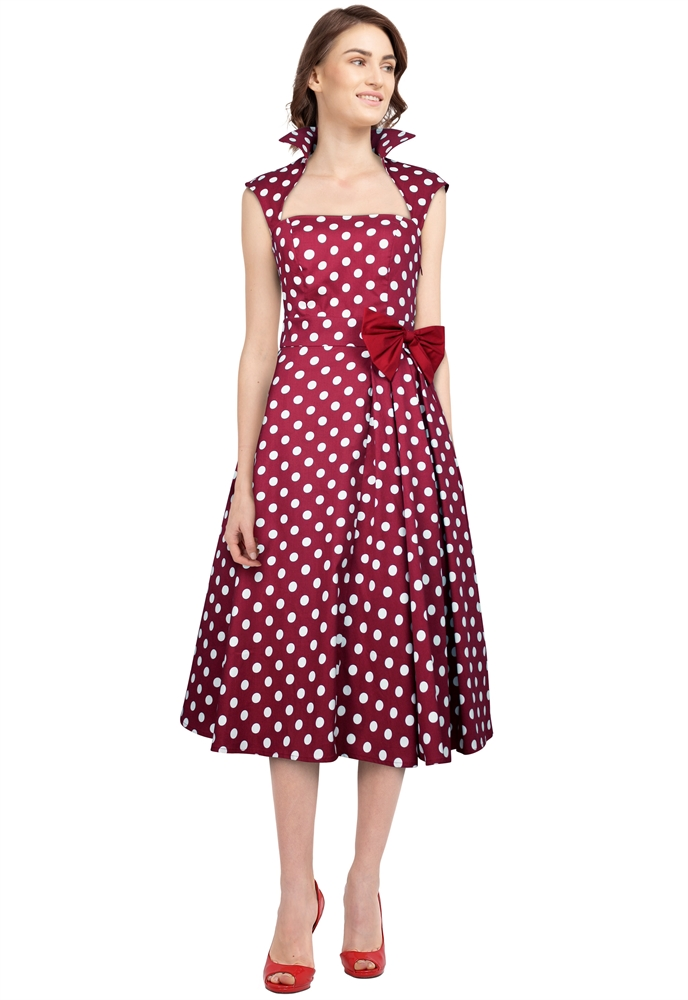 Polka-Dot Belted Pleat Dress