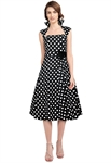 Plus-size Polka-Dot Belted Pleat Dress