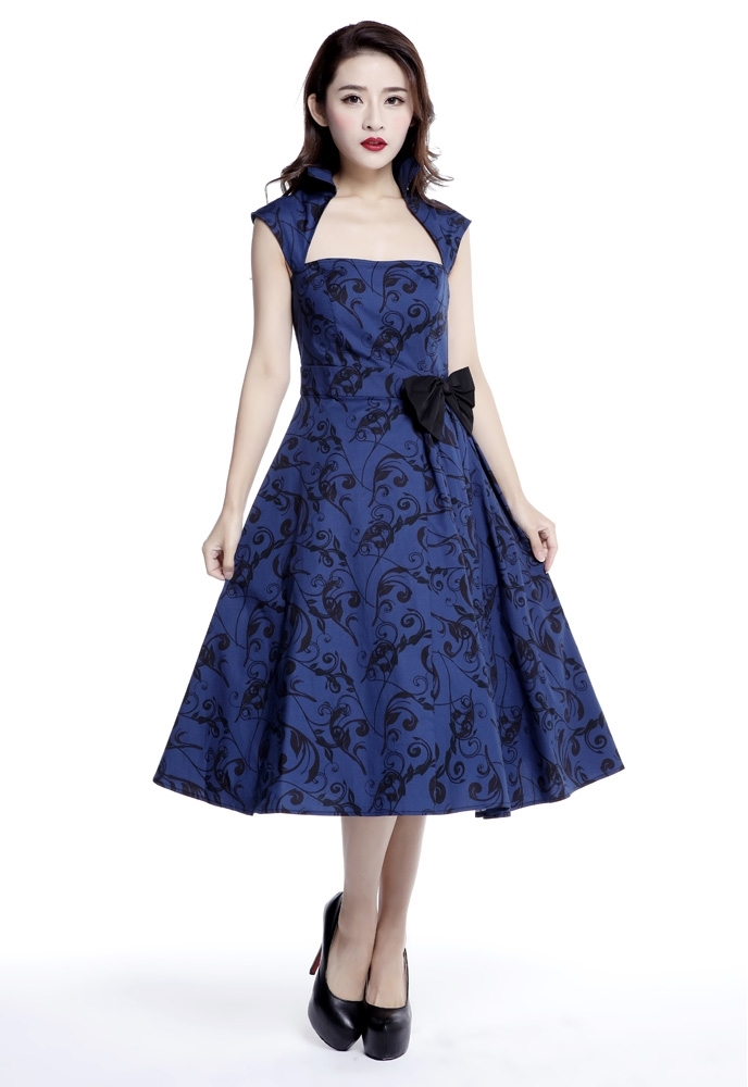 Printed Bow Pleat Dress
