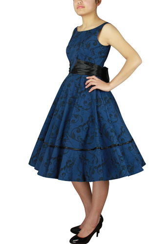 Printed Dress With Satin Sash