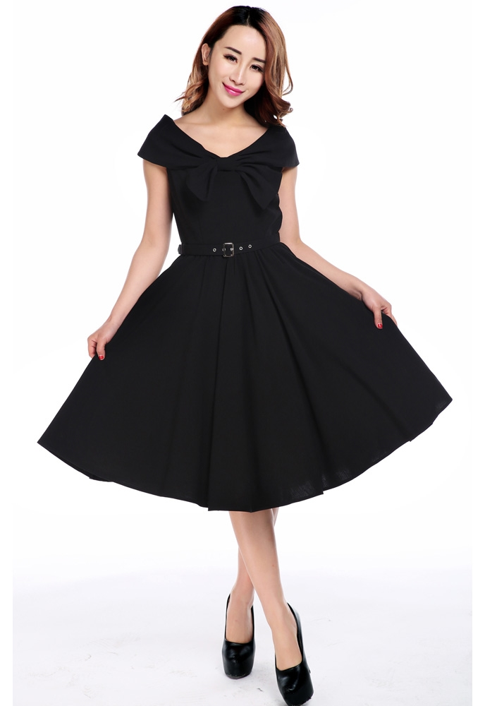 Bow Collar V-Neck Dress