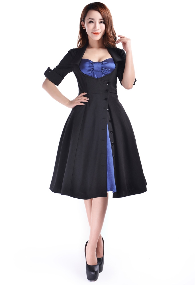 Rockabilly Side Button Bow Dress