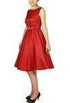Plus Size Satin Sleeveless Belted Dress