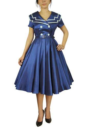 Plus Size Vintage Sailor Flared Dress