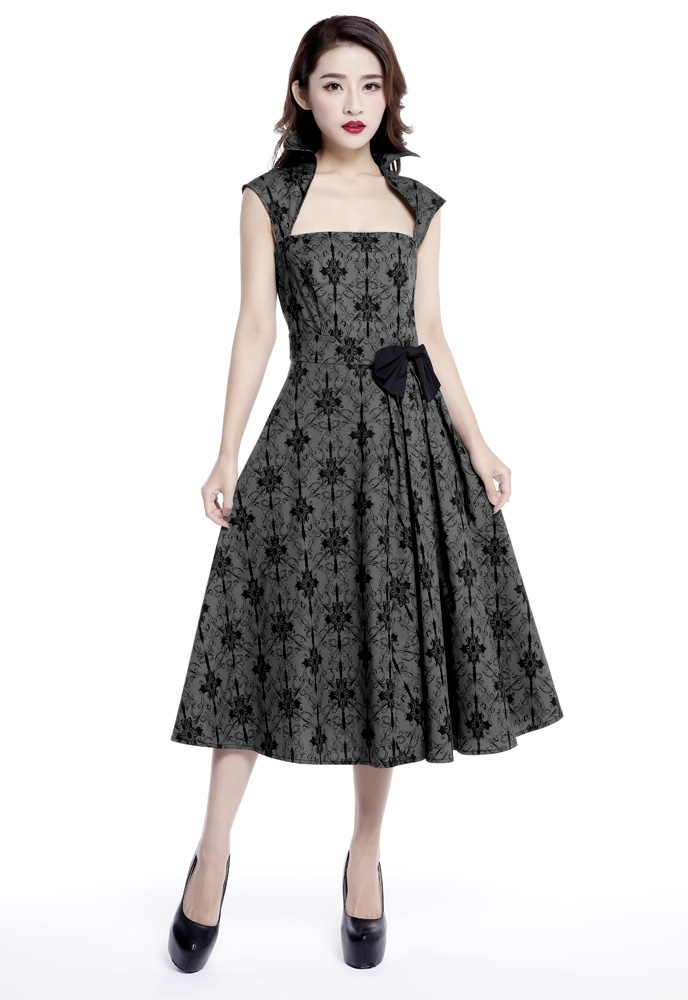 Plus Size Printed Bow Pleat Dress