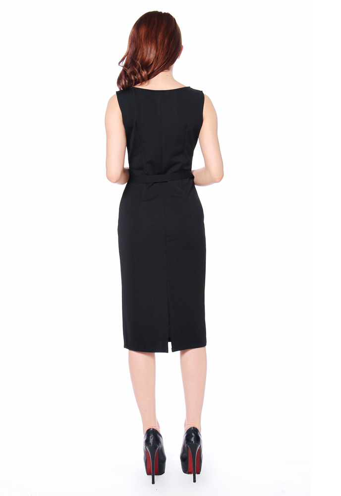 Plus Size Ponte Belted Sleeveless Pencil Dress