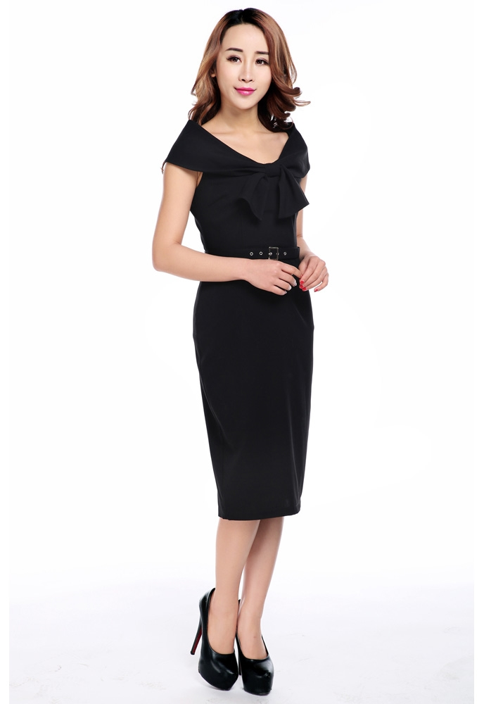 Plus Size Bow Collar Pencil Dress