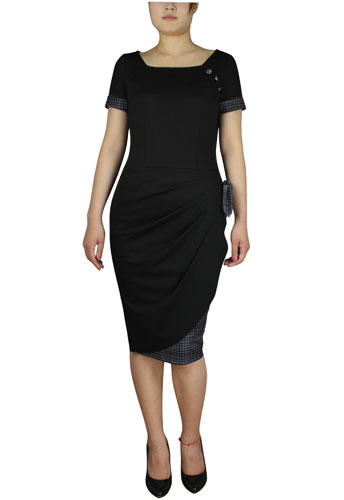 Wrapped Pencil Dress - Black