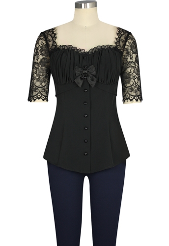 Ruched Lace Shirt