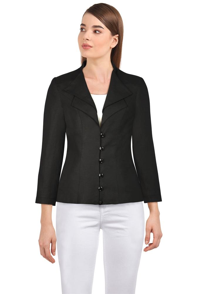 Double-Collar Linen Blazer