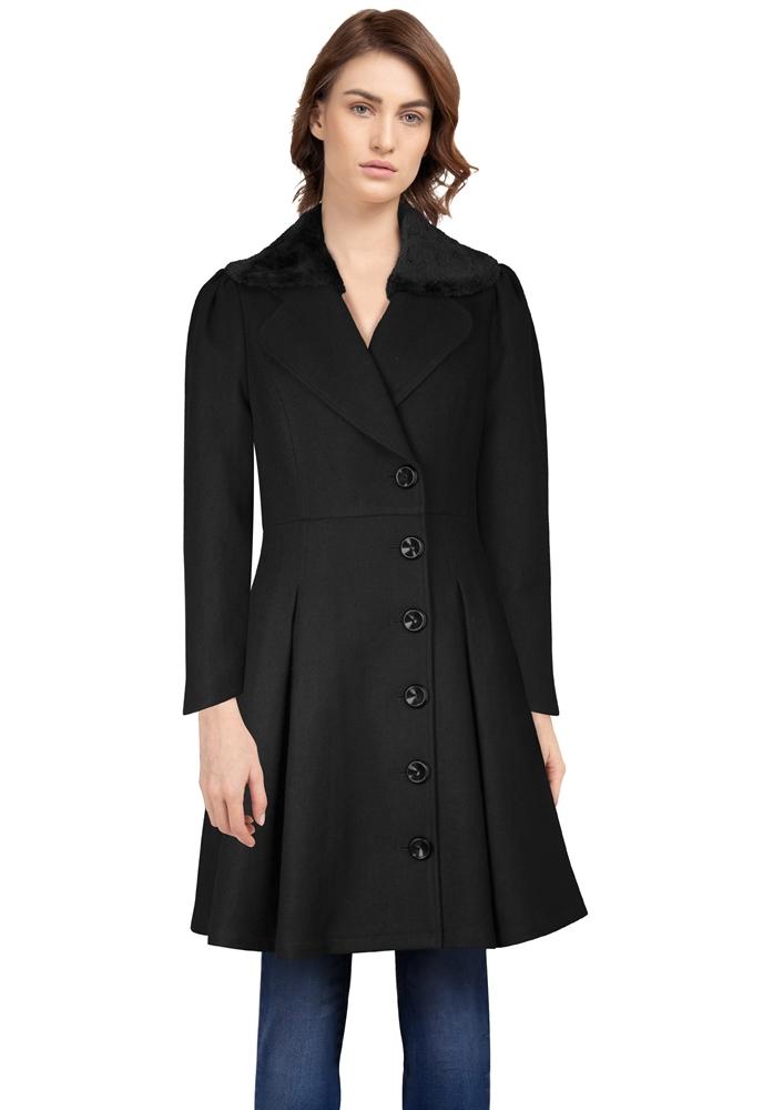 Wool Fur Peacoat Coat