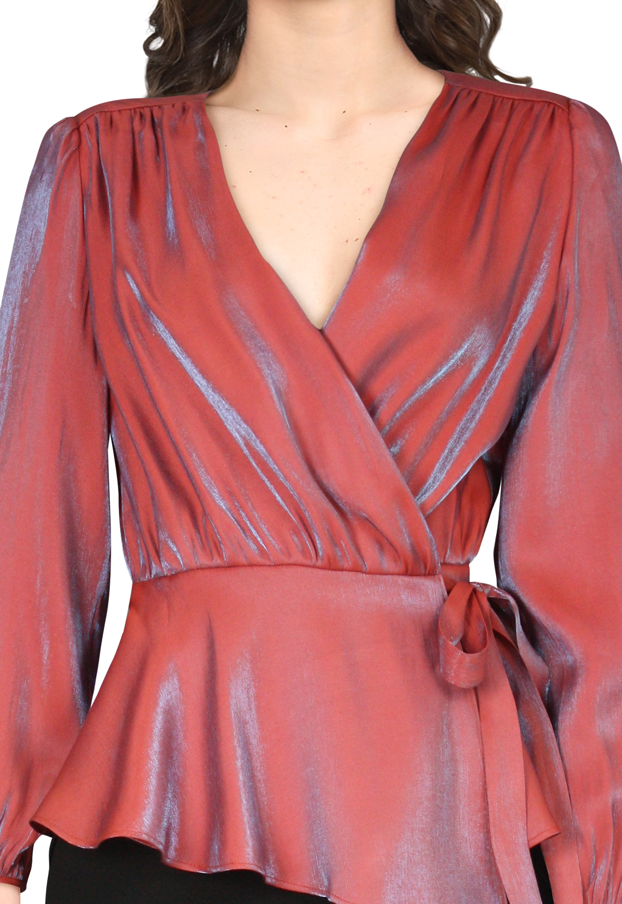 Shimmer Wrap Blouse