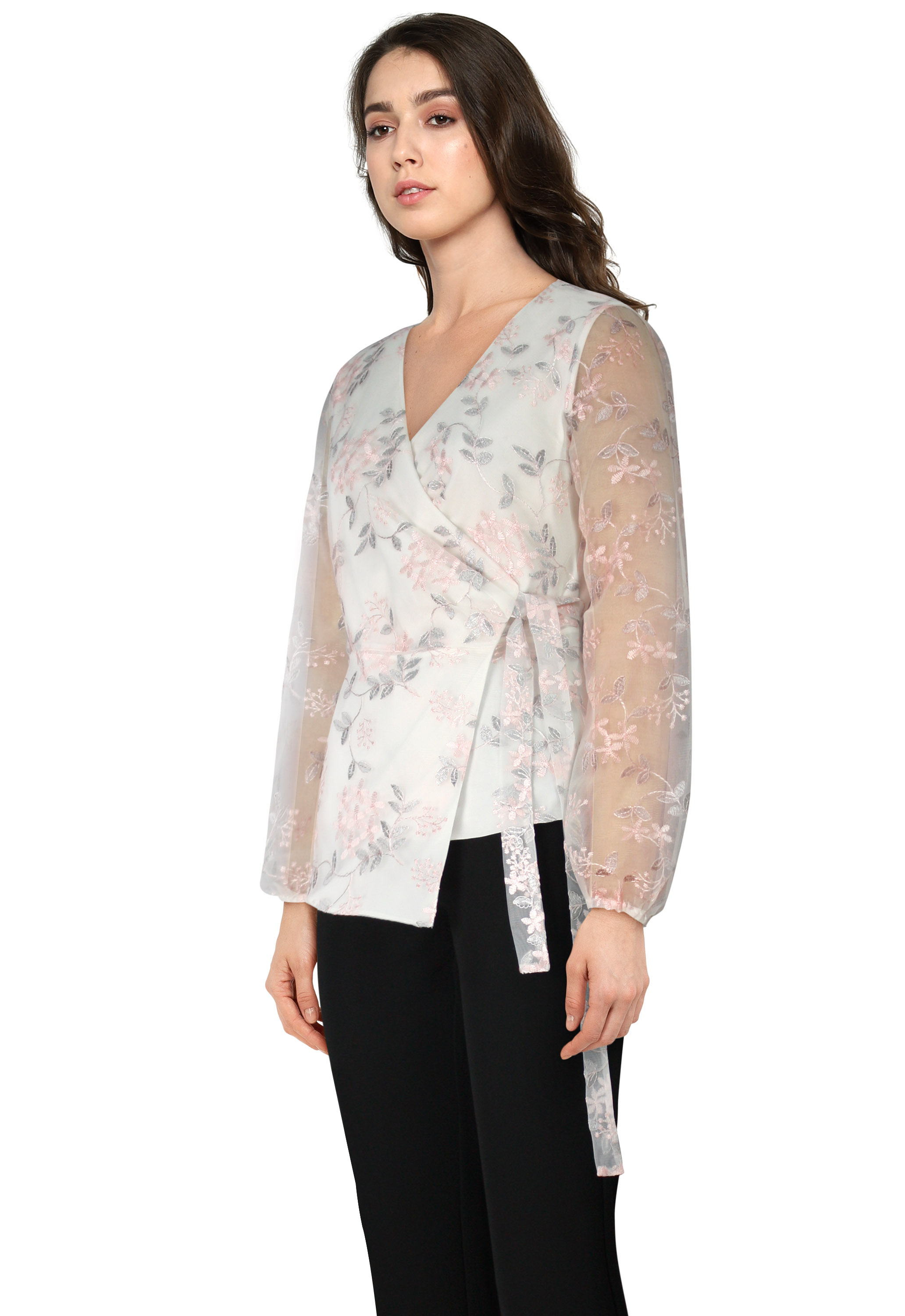 Embroideried Wrap Top
