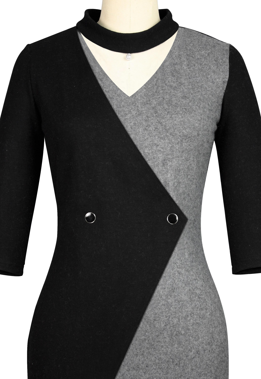 Contrast Wool Dress
