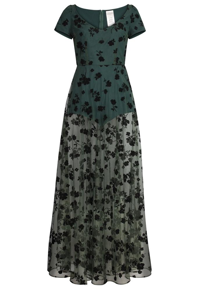 Flocked Velvet Mesh Maxi Dress