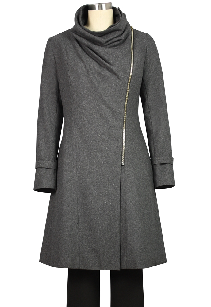 Turtleneck Wool Zipper Jacket