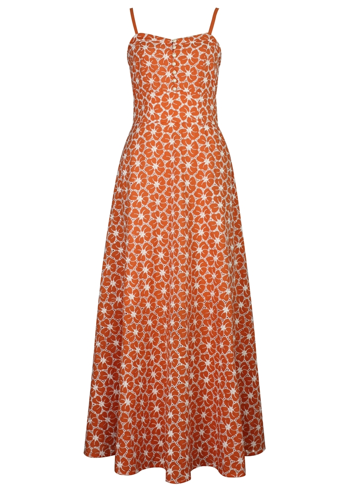 Eyelet Embroidery Maxi Dress